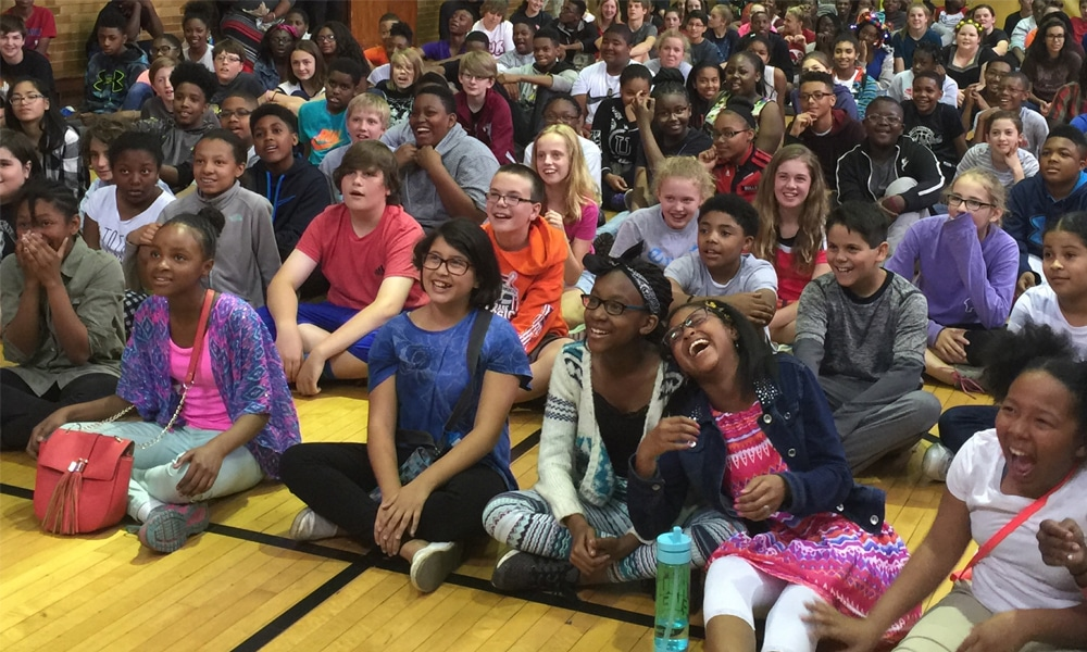 students-watching-wacky-science-assembly-show
